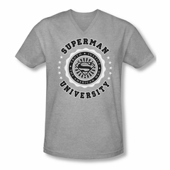 Superman Shirt Slim Fit V-Neck University Athletic Heather T-Shirt