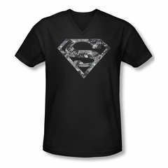 Superman Shirt Slim Fit V-Neck Urban Digi Camo Shield Black T-Shirt