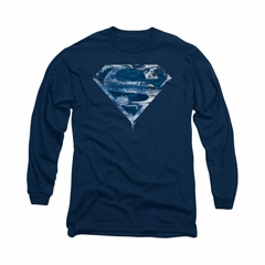 Superman Shirt Water Shield Long Sleeve Navy Tee T-Shirt