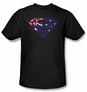 Superman T-shirt Australian Shield Logo Adult Black Tee Shirt