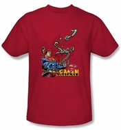Superman T-shirt Breaking Chains Superhero Adult Red Tee Shirt