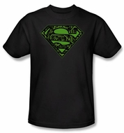 Superman T-shirt Circuits Shield Logo Adult Black Tee Shirt