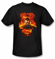 Superman T-shirt DC Comics Man On Fire Adult Black Tee Shirt