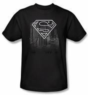 Superman T-shirt DC Comics Metropolis Skyline Adult Black Tee Shirt