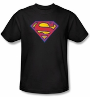 Superman T-shirt DC Comics Neon Distress Logo Adult Black Tee Shirt