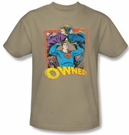 Superman T-shirt DC Comics Owned Adult Khaki Superhero Tee Shirt