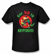 Superman T-shirt DC Comics Say No To Kryptonite Adult Black Tee Shirt