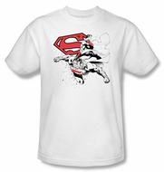 Superman T-shirt Double The Power Adult White Superhero Tee Shirt