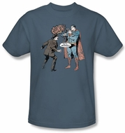 Superman T-shirt Gun Control Adult Superhero Slate Blue Tee Shirt