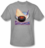 Superman T-shirt Hockey Stick And Puck Adult Heather Gray Tee