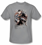 Superman T-shirt Justice League Bricks Adult Silver Gray Tee Shirt
