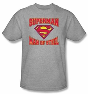 Superman T-shirt Man Of Steel Jersey Adult Heather Gray Tee Shirt