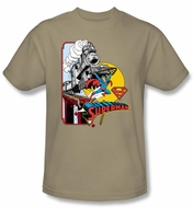 Superman T-shirt Off The Rails DC Comics Superhero Sand Tee Shirt