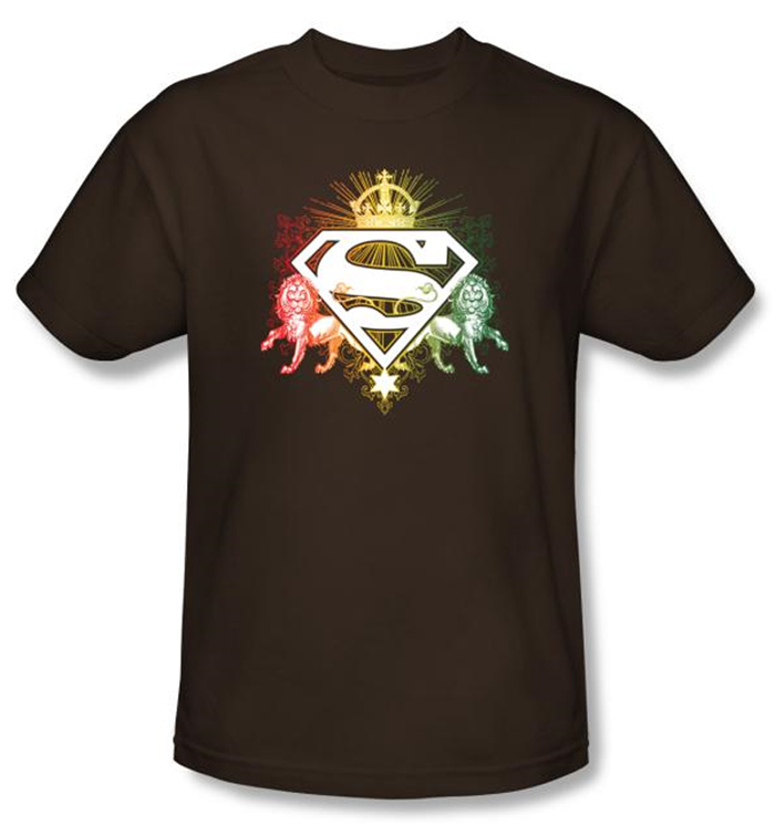 Superman t shirt ornate lion shield adult brown tee shirt for Bc lions t shirts