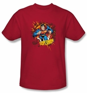 Superman T-Shirt Sorry About The Wall Superhero Adult Red Tee Shirt