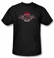 Superman T-shirt Steel Flames Shield Logo Adult Black Tee Shirt