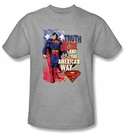 Superman T-Shirt Truth Justice Heather Gray Adult Tee Shirt