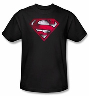 Superman T-shirt War Torn Shield Logo Adult Superhero Tee Shirt