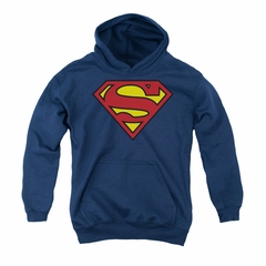 Superman Youth Hoodie Basic Logo Navy Kids Hoody