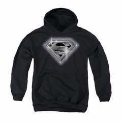Superman Youth Hoodie Bling Shield Black Kids Hoody