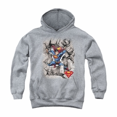 Superman Youth Hoodie Break Through Athletic Heather Kids Hoody