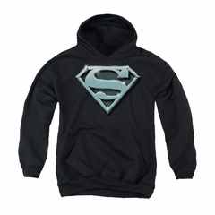 Superman Youth Hoodie Chrome Shield Black Kids Hoody