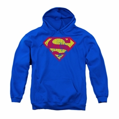 Superman Youth Hoodie Classic Logo Distressed Royal Blue Kids Hoody