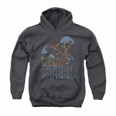 Superman Youth Hoodie Colored Lines Charcoal Kids Hoody