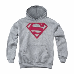 Superman Youth Hoodie Crimson Shield Athletic Heather Kids Hoody