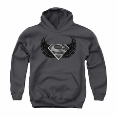 Superman Youth Hoodie Dirty Wings Charcoal Kids Hoody