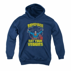 Superman Youth Hoodie Eat Veggies Navy Kids Hoody
