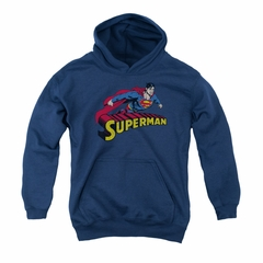 Superman Youth Hoodie Flying Over Navy Kids Hoody