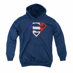 Superman Youth Hoodie French Shield Navy Kids Hoody