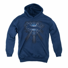 Superman Youth Hoodie Glowing Shield Navy Kids Hoody