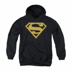 Superman Youth Hoodie Gold Shield Black Kids Hoody