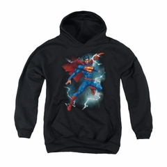 Superman Youth Hoodie Lightning Black Kids Hoody