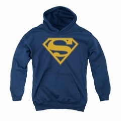 Superman Youth Hoodie Maize Shield Navy Kids Hoody