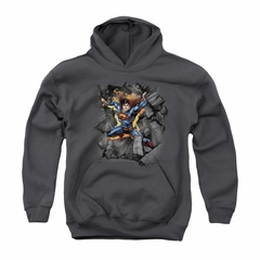 Superman Youth Hoodie Make A Hole Charcoal Kids Hoody