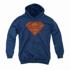 Superman Youth Hoodie Messy Shield Navy Kids Hoody