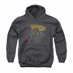 Superman Youth Hoodie Phantom Zone Charcoal Kids Hoody