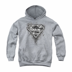 Superman Youth Hoodie Skull Shield Athletic Heather Kids Hoody