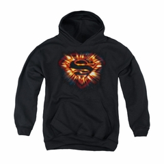 Superman Youth Hoodie Space Burst Shield Black Kids Hoody