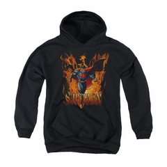 Superman Youth Hoodie Through The Fire Black Kids Hoody