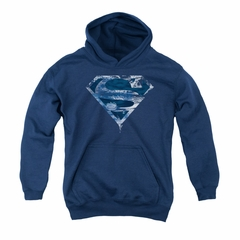 Superman Youth Hoodie Water Shield Navy Kids Hoody