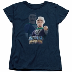 SuperMansion Womens Shirt Titanium Rex Navy Blue T-Shirt