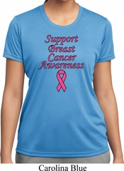 Support Breast Cancer Awareness Ladies Dry Wicking T-shirt