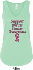 Support Breast Cancer Awareness Ladies Flowy V-neck Tank Top