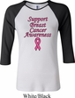 Support Breast Cancer Awareness Ladies Raglan Shirt