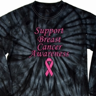 Support Breast Cancer Awareness Long Sleeve Tie Dye Shirt