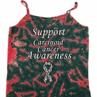 Support Carcinoid Cancer Awareness Ladies Tie Dye Camisole Tank Top